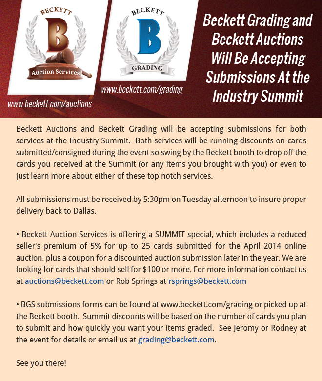 Beckett Grading Beckett Auction Taking Submissions At Summit The